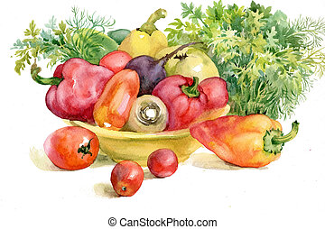 autumn vegetables - beautiful, ripe vegetables on the plate...