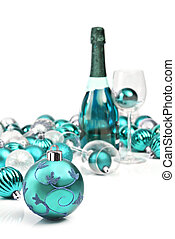 Blue christmas ornaments with sparkling wine