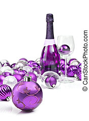 Purple christmas ornaments with sparkling wine - Purple...