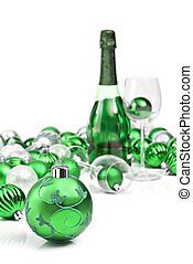 Green christmas ornaments and sparkling wine - Green...