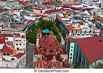Mexican Plaza heavily shaded with trees in Guanajuato Mexico...