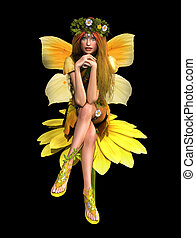 Yellow Daisy Fay CA - a cute fairy in yellow dress is sits...