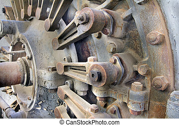 Old Hydroelectric Power Plant Turbine Closeup - Old...