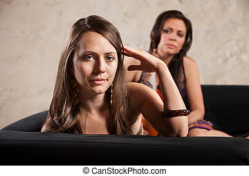 Woman Turns Away From Person - Annoyed woman turns her head...