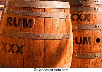 Rum Kegs - Wooden Rum kegs ringed with metal bands