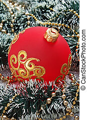 Christmas ball on Christmas background