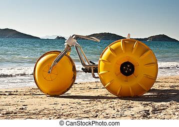 amarillo, playa, triciclo