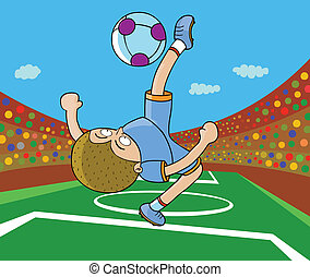 Football Player - Kick on air - player,ball,&the field are...