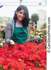 Garden center worker looking at flowers using tablet -...