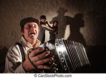 Accordion Player Singing For Dancers - Handsome singer...