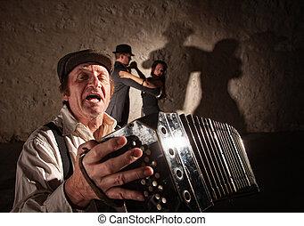 Accordion Player Singing For Dancers - Handsome singer...