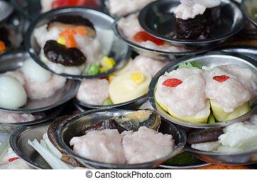 dimsum, chino, alimento, restaurante, servido,...