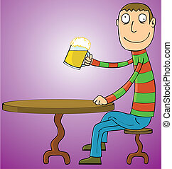 Man Drinking Beer - A man drinking a glass of beer