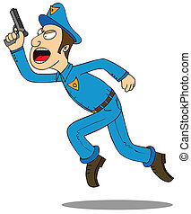 Police-put your hands up - a policeman run after a bad guy