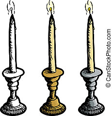 Candle in Candleholder - Brass, chrome and blank candle...
