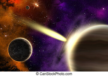 Gas giant planet and comet - Planets in deep space with a...