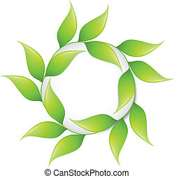 Round banner in green color with leafs. Vector illustration