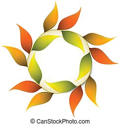 Round autumn banner with orange leafs. Vector