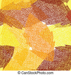 Seamless autumn leaves pattern Vector background...