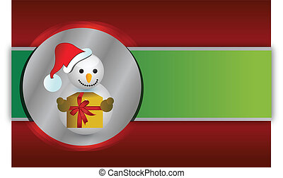 Red and green christmas snowman background