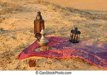 North African trinkets in a sandy settting