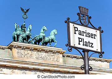 Pariser Platz, Brandeburg gate, Berlin - Pariser Platz sign,...