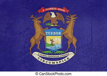 Grunge Michigan State flag