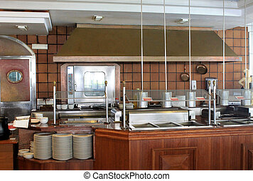 Modern commercial kitchen in hotel, restaurant or business.