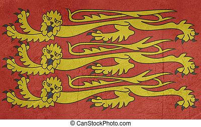 Grunge English Royal Standard isolated on white background