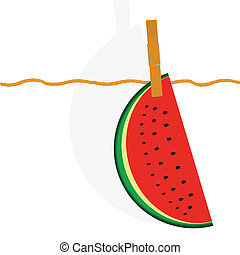 watermelon hanging on a rope