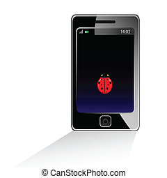 mobile phone with ladybug illustration