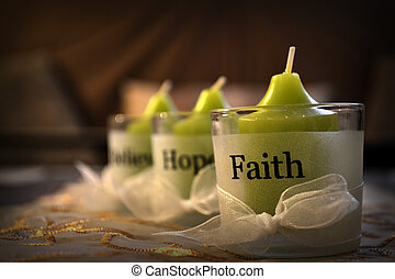 believe, hope, faith - candles