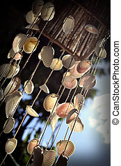 sky, wind and chime - wind chime made of shells