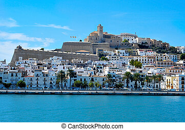 View of Dalt Vila, the old town of Ibiza Town, in Ibiza,...