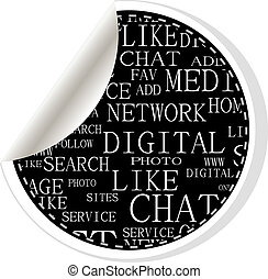 Social media stickers - networking concept words