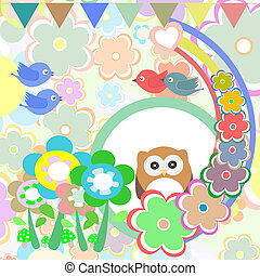 Background with owl, flowers, birds and trees - vector