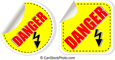 Vector warning danger sign set, vector illustration