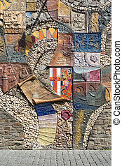 COCHEM , GERMANY - JULY 24: Historic mosaic at a town-wall  on July 24, 2012 in Cochem, Germany