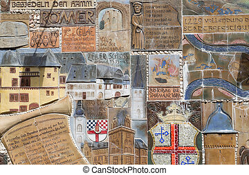 ZELL, GERMANY - JULY 18: Historic mosaic at a town-wall  on July 18, 2012 in Zell, Germany
