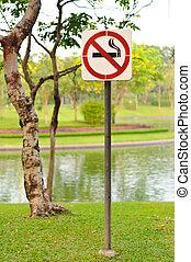 No smoking sign in a garden