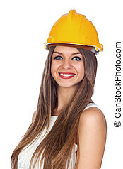 Young Woman with a Construction Helmet Isolated on White