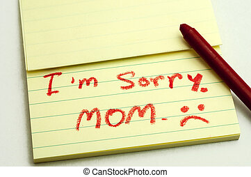 Apologies - a handwritten notes with sorry message.