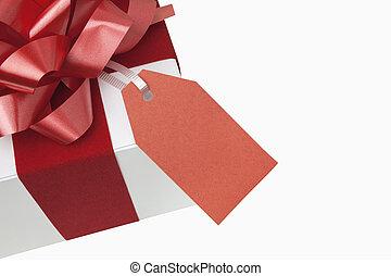 Christmas Present - Christmas present with blank gift tag,...