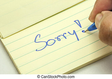 Apologies - a handwritten notes with sorry message