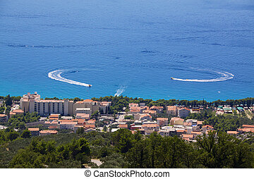 Holiday resort Tucepi - Bird's eye view of popular holiday...