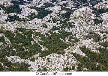 Hilltops in Biokovo nature park - Bird's eye view of scenic...