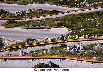 Mountain road - Hairpin curves in picturesque nature park...