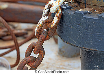 envejecimiento, ancla, cadena, antiguo, nave