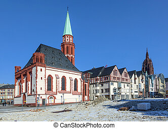 famous Nikolai Church in Frankfurt at the central roemer...