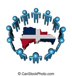 Circle of abstract people around Dominican Republic map flag illustration